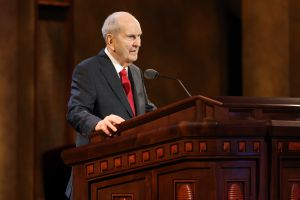 (The Church of Jesus Christ of Latter-day Saints) Church President Russell M. Nelson addresses the priesthood session of General Conference on Saturday, April 3, 2021. Starting in the fall, the Saturday evening priesthood and women's sessions will be discontinued.