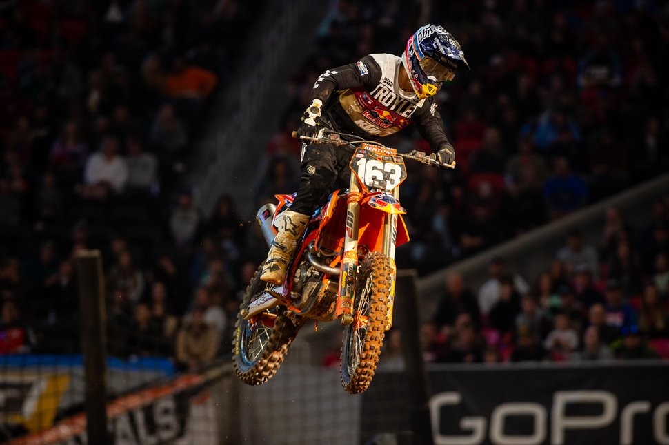 (Photo courtesy of Feld Entertainment) Pierce Brown of Sandy, a rookie on the Monster Energy AMA Supercross tour, makes his debut in Atlanta in February. Brown will race five 250SX East races at Rice-Eccles Stadium on the University of Utah campus between May 31 and June 27, 2020.