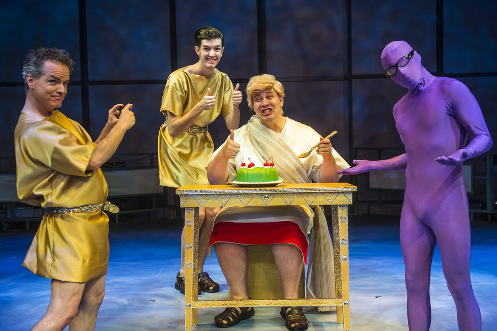 Chris Detrick | The Salt Lake Tribune Eric Lee Brotherson, Devin Rey Barney, Justin Ivie and Tito Livas act out a scene during a preview of