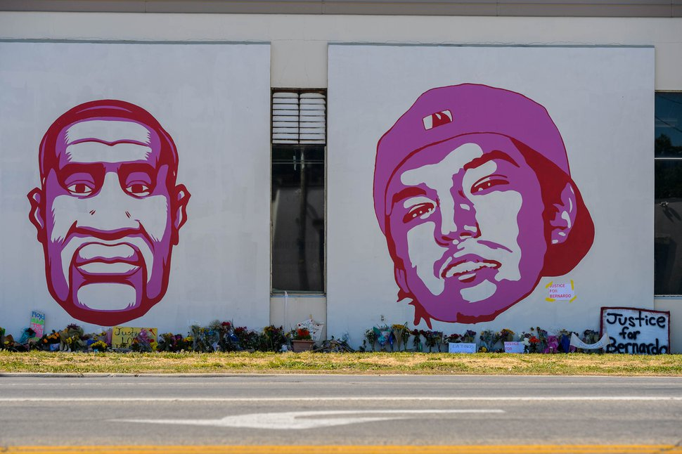 (Trent Nelson | The Salt Lake Tribune) George Floyd and Bernardo Palacios-Carbajal, two men killed by police, are displayed in a mural in Salt Lake City at 800 South 300 West on Thursday, June 11, 2020.