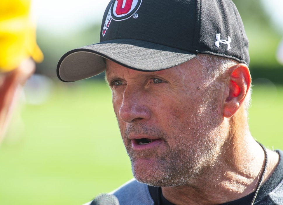 (Rick Egan | The Salt Lake Tribune) University of Utah Head Coach Kyle Whittingham, Thursday, Aug. 1, 2019.