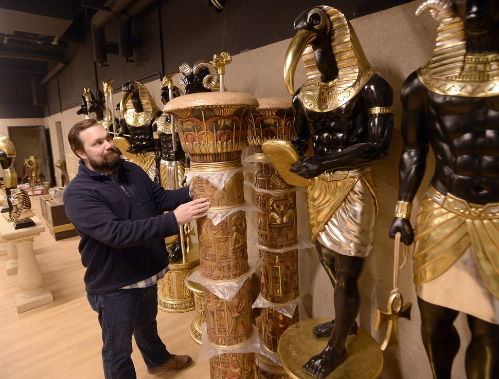 (Al Hartmann | The Salt Lake Tribune) Kacey Udy, Hale Centre Theatre production designer, checks out the stage props for