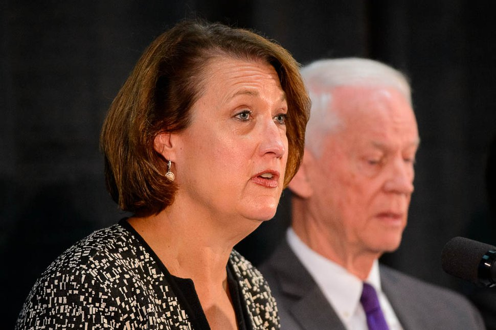 (Trent Nelson | The Salt Lake Tribune) University of Utah President Ruth V. Watkins speaks at a news conference presenting the findings of a review of the Lauren McCluskey case, in Salt Lake City on Wednesday Dec. 19, 2018. John T. Nielsen at right.