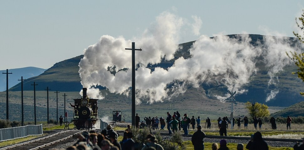 (Francisco Kjolseth | The Salt Lake Tribune) The Jupiter and No. 119 arrive on Friday May 10, 2019, for the celebration of the 150th anniversary of the completion of the transcontinental railroad at Promontory Summit where the two rails met back on May 10, 1869.