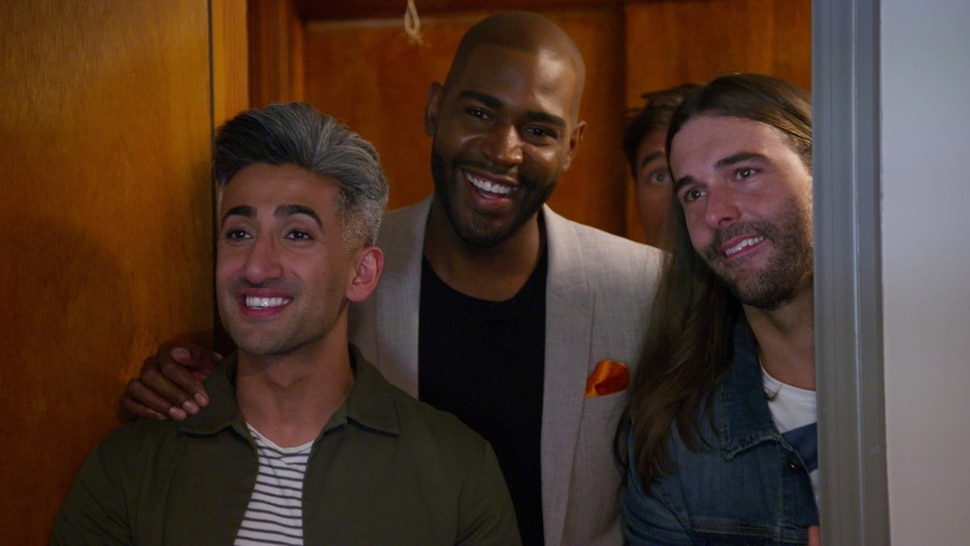"Tan France, Karamo Brown, Jonathan Van Ness — three members of the Fab Five — in an episode of ""Queer Eye."""