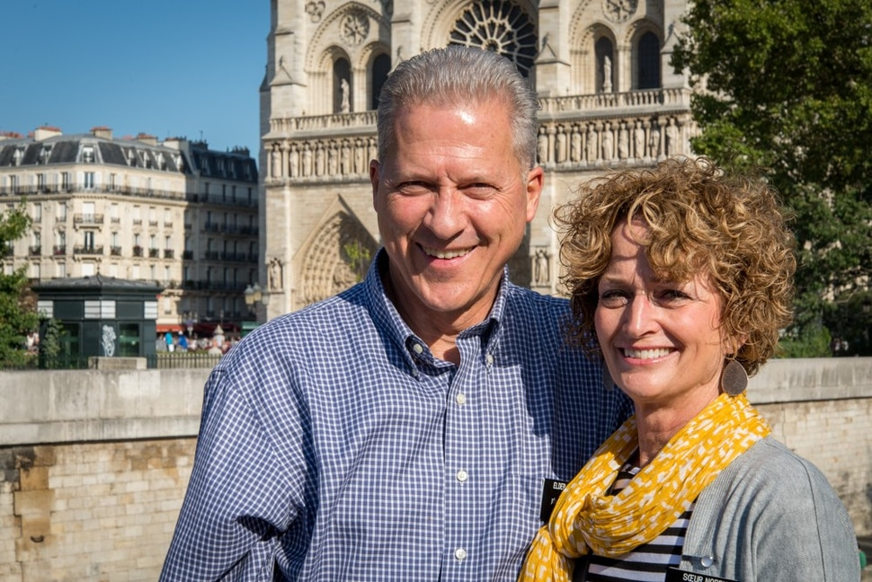 (photo courtesy LDS Church) Elder Richard Norby and his wife, Pam, while serving as Mormon missionaries in Brussels, Belgium.