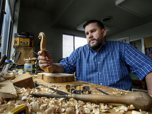 (Steve Griffin  |  The Salt Lake Tribune)  Violin maker Daniel Prier in his studio in Salt Lake City on Thursday, Sept. 14, 2017.