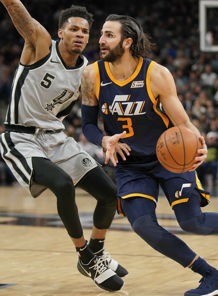 56c2e8e7027 Rubio and O'Neale shine as Mitchell-less Jazz beat Spurs for fifth win in a  row