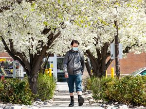 (Francisco Kjolseth  | The Salt Lake Tribune) Spring blossoms in Salt Lake City on Wednesday, April 7, 2021, mark the change of the season along with a transition of the mask mandates which will end statewide Saturday, however Salt Lake City Mayor Erin Mendenhall said nothing will change in the capital.