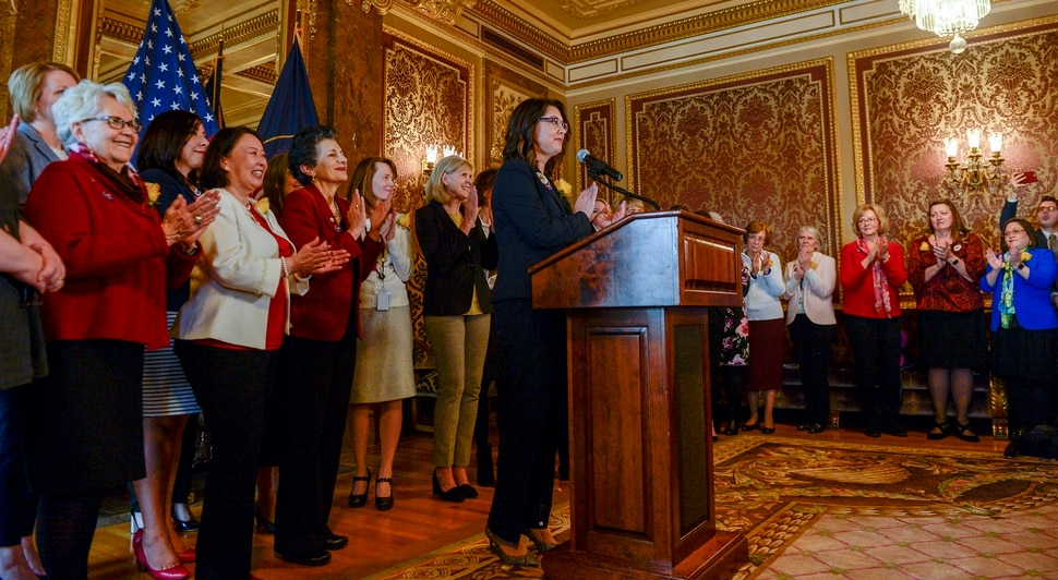 "Leah Hogsten | The Salt Lake Tribune ""Standing here together are the 25 women of the 63rd Legislature — a historic number for Utah,"" said Sen. Deidre Henderson, R-Spanish Fork, Feb. 14, 2019. One hundred twenty-three years ago, Martha Hughes Cannon carved a path for us and women all over America to follow. We recognize that we are part of her legacy."" Henderson and fellow legislators commenorated women's suffrage. A statue of Martha Hughes Cannon — a polygamist, suffragette and doctor who was the first state senator in Utah and the country — will be place in the National Statuary Hall collection in Washington, D.C. in 2020 as the nation celebrates the 100th anniversary of the 19th Amendment and the 55th anniversary of the Voting Rights Act."
