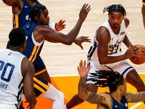 (Trent Nelson  |  The Salt Lake Tribune) Utah Jazz White guard/forward Elijah Hughes (33) as Utah Jazz Blue faces Utah Jazz White in the Salt Lake City Summer League in Salt Lake City on Friday, Aug. 6, 2021.