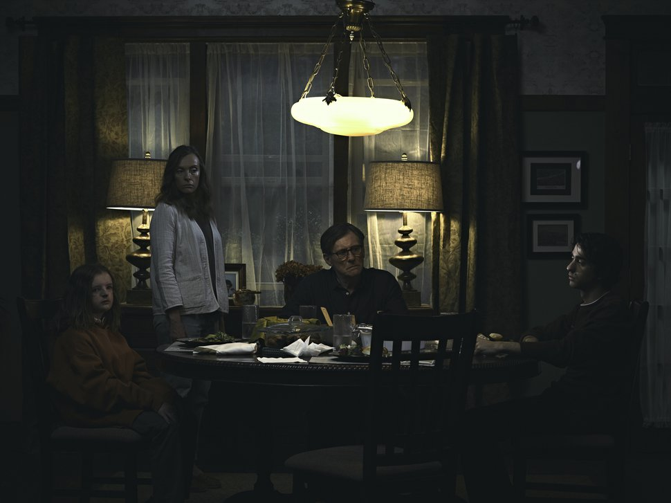 (Courtesy A24 Films) After the death of their matriarch, a family — from left: daughter Charlie (Milly Shapiro), mother Annie (Toni Collette), father Steve (Gabriel Byrne), and son Peter (Alex Wolff) — confront a mysterious menace in the horror-thriller