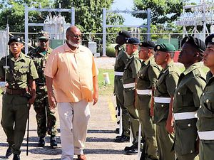 (Image via Belize Ministry of National Security) Belize Minister of National Security John B. Saldivar inspects security facilities Dec. 14, 2019.