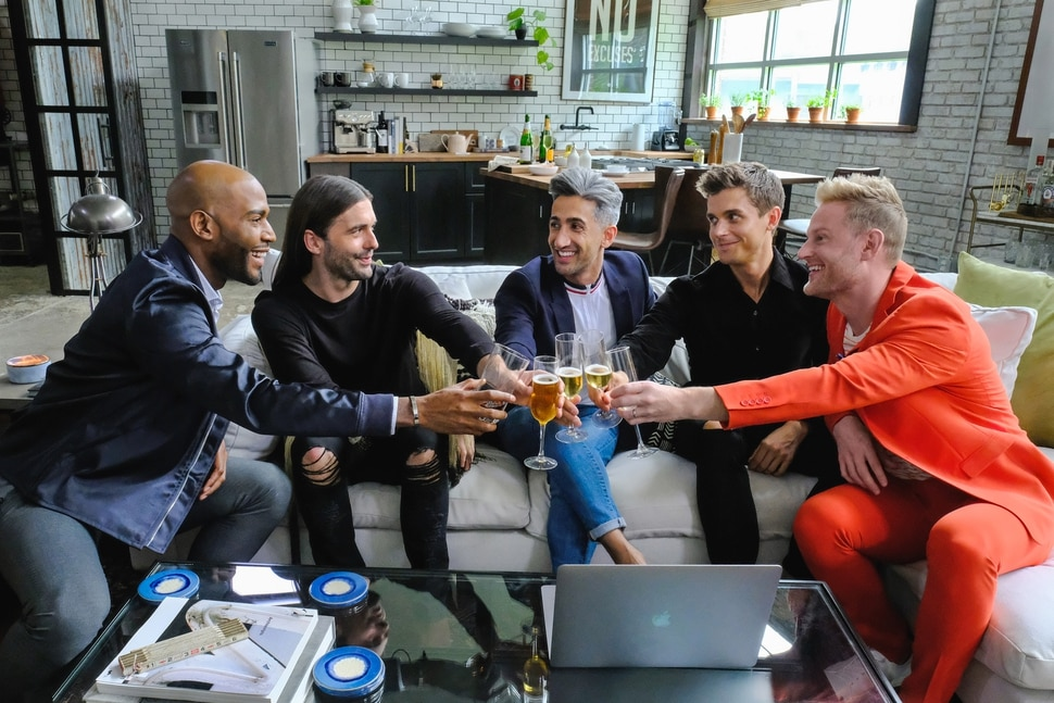 "(Photo courtesy of Carin Baer/Netflix) Karamo Brown, Jonathan Van Ness, Tan France, Bobby Berk, Antoni Porowski, Neal Reddy — the Fab Five — in an episode of ""Queer Eye."""