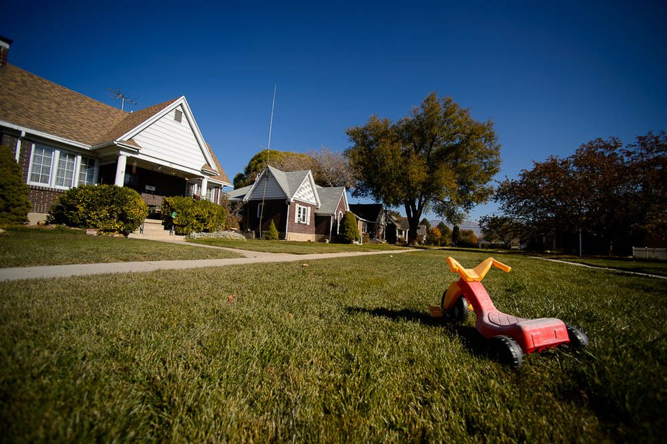 (Trent Nelson   The Salt Lake Tribune) Boulevard Gardens, a unique Salt Lake City subdivision between Main Street and West Temple, on Friday, Nov. 16, 2018. The homes were built between 1929 and 1931 and face into a large landscaped courtyard, which runs the entire length of the development.