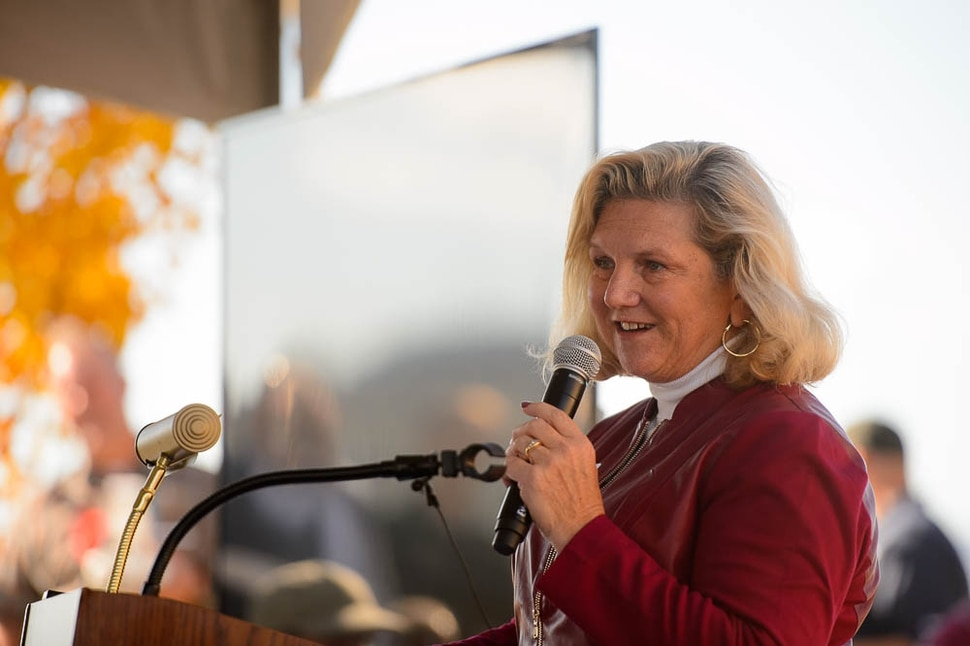 (Trent Nelson | The Salt Lake Tribune) Dr. Tulinda Larsen speaks at the ribbon cutting for Deseret Unmanned Aerial Systems in Tooele, Wednesday Oct. 24, 2018.
