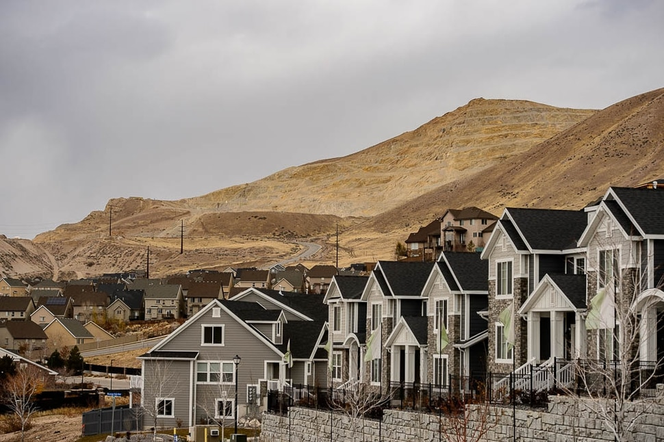 (Trent Nelson | The Salt Lake Tribune) Homes at Traverse Ridge near a mining operation, Friday Nov. 23, 2018. The city of Lehi has sent a letter of assurance to residents saying there are no health risks from the gravel mining and construction on Point of the Mountain. They site a health department study showing the operation is not causing health-damaging air pollution. The health department tells a different story -- and they can't say there are no health risks from the mining.