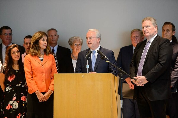 (Trent Nelson | The Salt Lake Tribune) Jack Gerard of the LDS Church, with Lisa Harkness and Craig Christensen, announces the church's opposition to Utah's medical marijuana initiative at a news conference in Salt Lake City, Thursday Aug. 23, 2018.