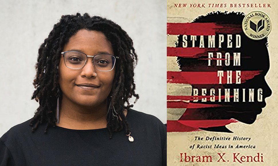 """(Photo courtesy of Charnell Peters) Charnell Peters is a facilitator of YWCA Utah's Woke Words program. She is shown with """"Stamped from the Beginning: The Definitive History of Racist Ideas in America."""