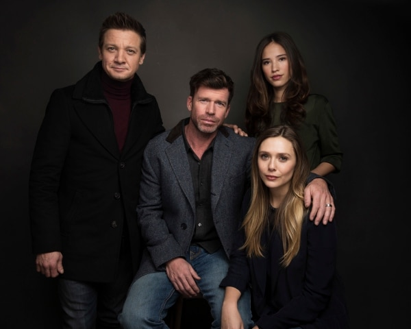 Actor Jeremy Renner, from left, Director Taylor Sheridan, actress Elizabeth Olsen and actress Kelsey Asbille Chow pose for a portrait to promote the film,