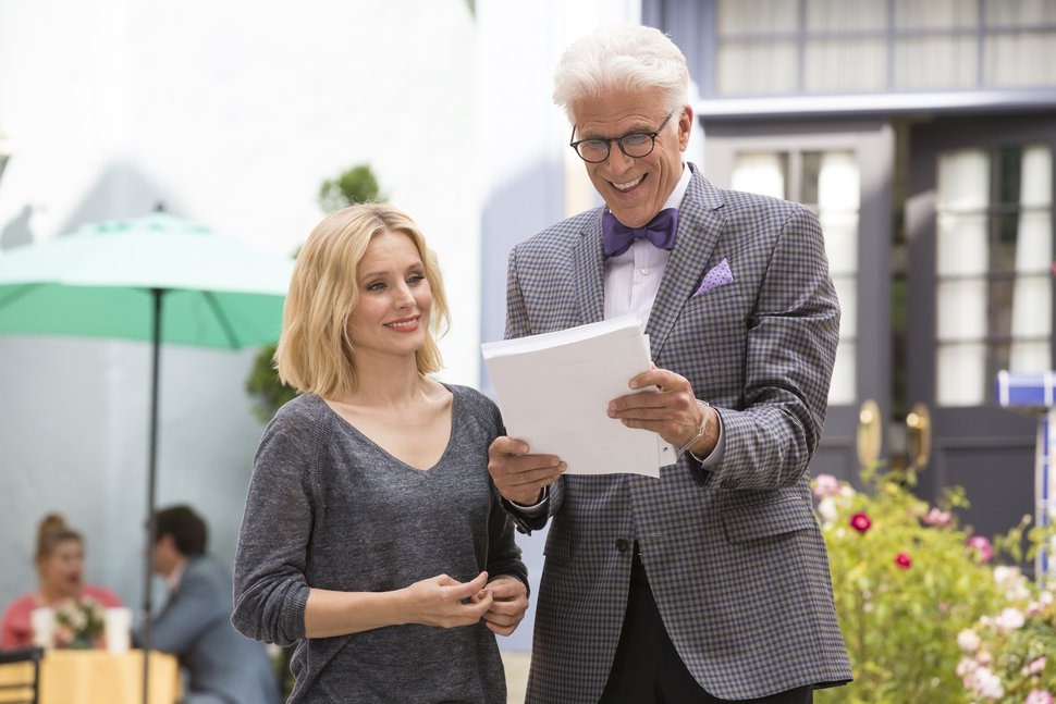 This image released by NBC shows Kristen Bell as Eleanor, left, and Ted Danson as Michael in a scene from