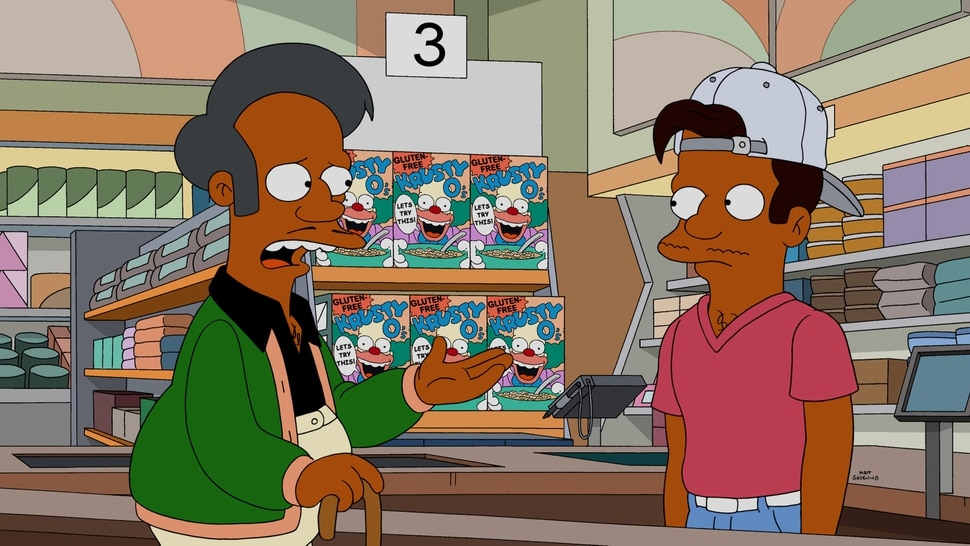 """(Photo courtesy of Fox) Apu and his nephew, Jay — voiced by Utkarsh Ambudkar — in """"The Simpsons"""" episode """"Much Apu About Something."""""""
