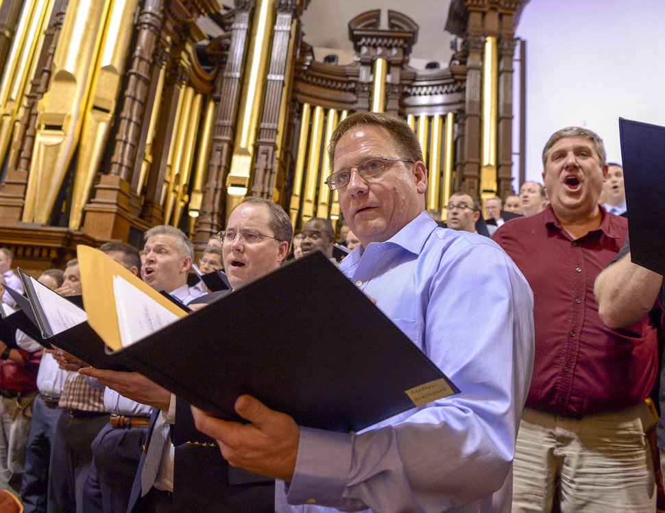 Leah Hogsten | The Salt Lake Tribune Alaska resident, Matthew Breshears, warms his voice during rehearsal on April 12, 2019. Four people were chosen through a social media contest to sing with The Tabernacle Choir at Temple Square on Sunday, April 14, 2019.