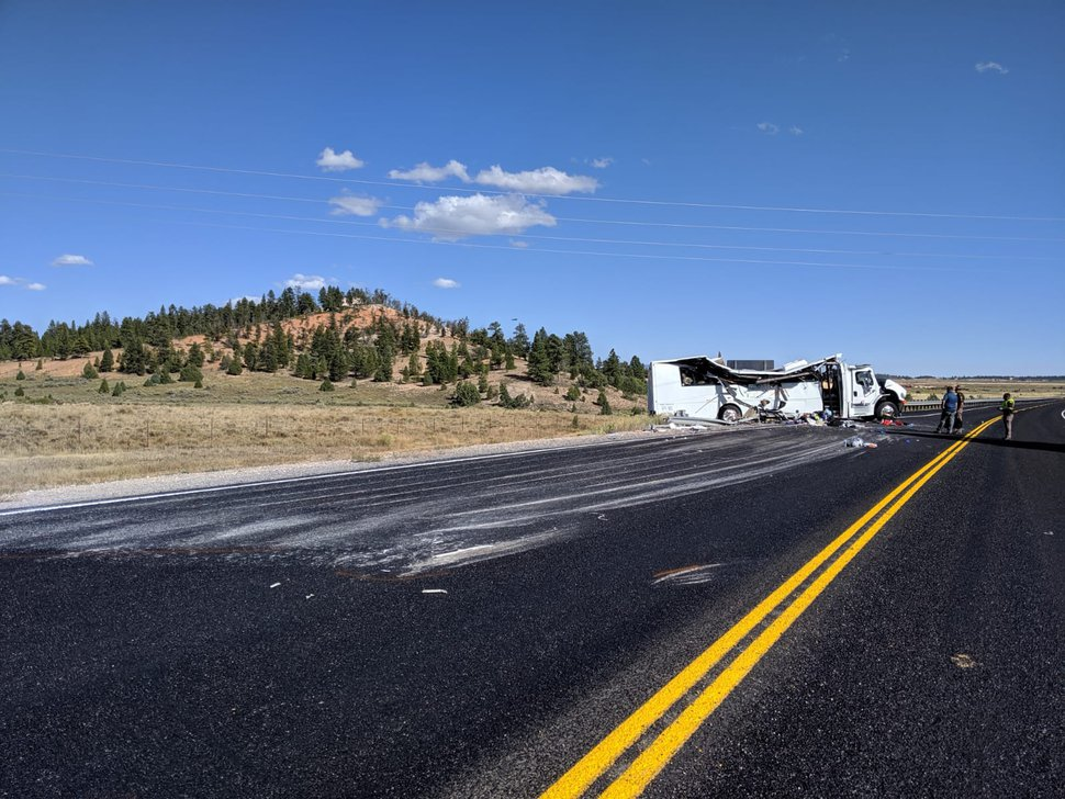 (Courtesy Utah Highway Patrol) A tour bus carrying 30 Chinese speakers crashed Sept. 20, 2019, on State Road 12 near Bryce Canyon National Park in southern Utah.
