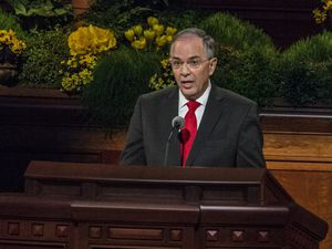 Chris Detrick  |  The Salt Lake TribuneElder Neil L. Andersen, Quorum of the Twelve Apostles, speaks during the morning session of the 184th Semiannual General Conference of The Church of Jesus Christ of Latter-day Saints Saturday April 5, 2014.
