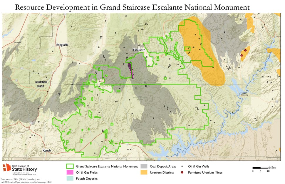 (Courtesy) This map, obtained from the State Historic Preservation office through an open-records request, shows the location of oil, gas and coal resources in and around the Grand Staircase Escalante National Monument.