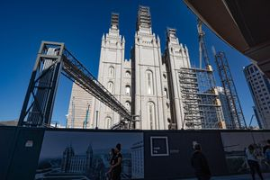 (Francisco Kjolseth  | The Salt Lake Tribune) Work continues on the Salt Lake Temple of The Church of Jesus Christ of Latter-day Saints during its renovation in Salt Lake City on Friday, April 2, 2021.