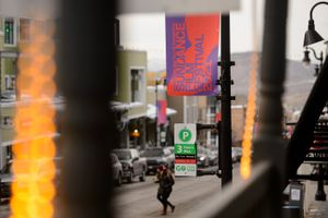 (Trent Nelson  |  The Salt Lake Tribune) A banner for the Sundance Film Festival on Main Street is photographed in Park City on Tuesday, Jan. 12, 2021. The film festival will be held entirely online this year.