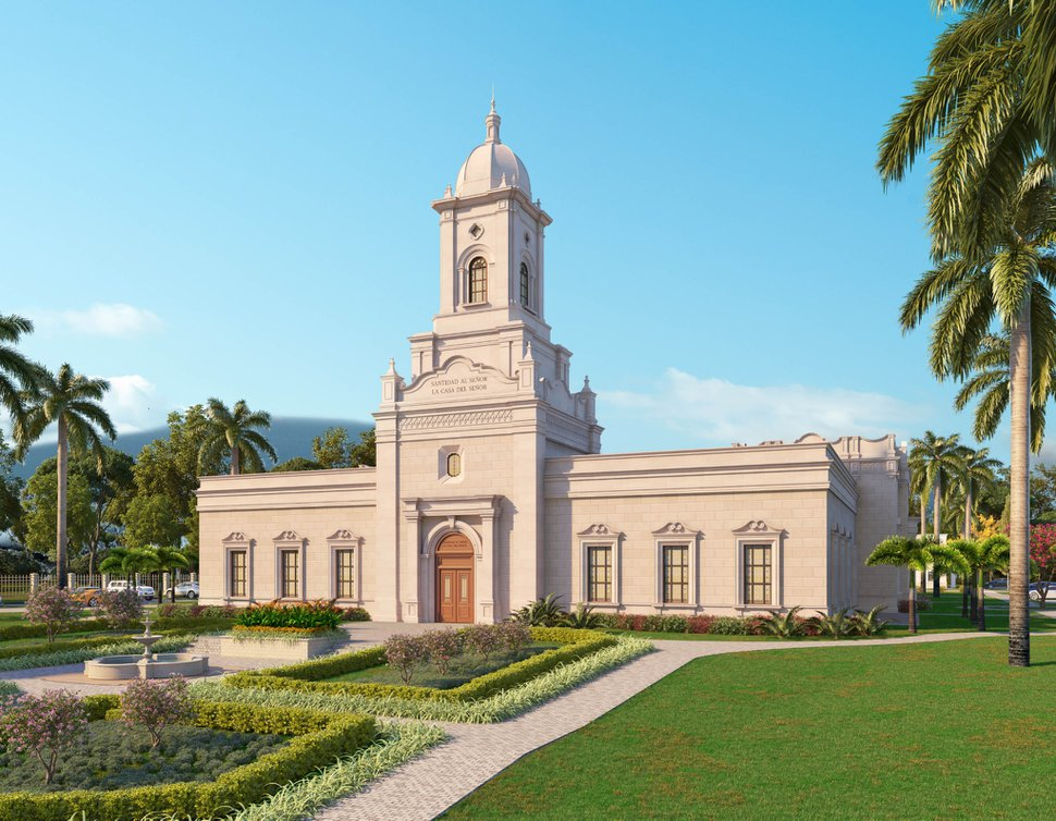 (Rendering courtesy of The Church of Jesus Christ of Latter-day Saints) The San Pedro Sula Temple in Honduras.