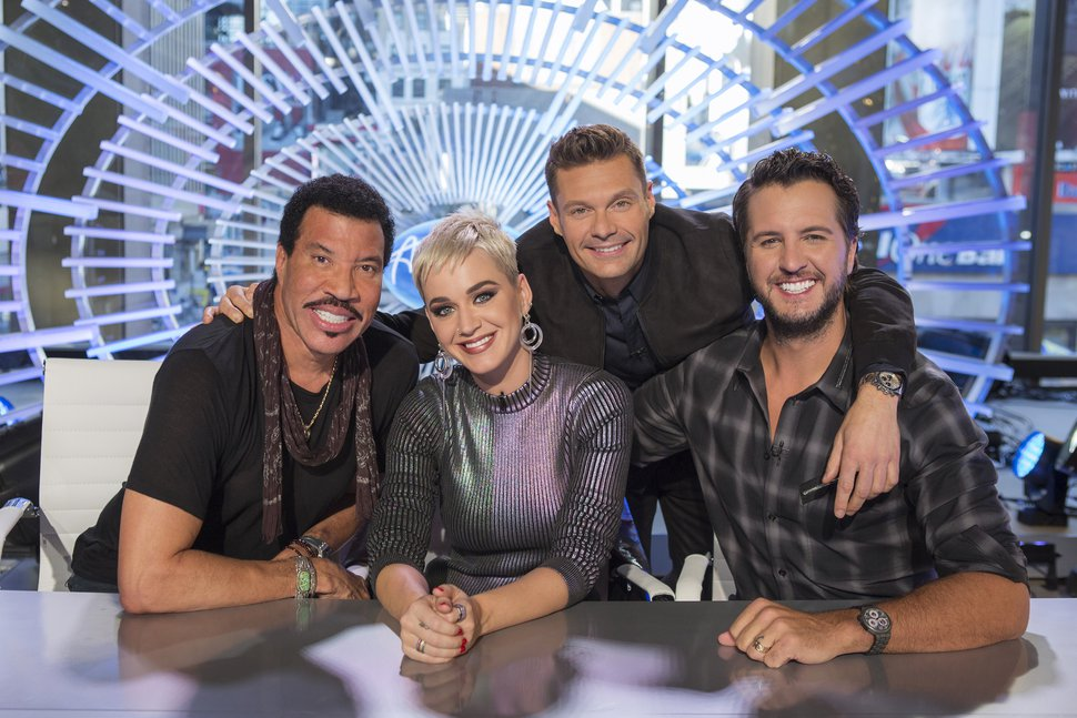 This image released by ABC shows, from left, Lionel Richie, Katy Perry, Ryan Seacrest and Luke Bryan on the set of