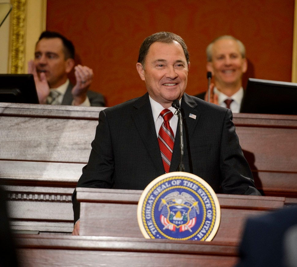 (Steve Griffin | The Salt Lake Tribune) Gov. Gary Herbert smiles as he gives his State of the State address in the Utah House of Representatives in Salt Lake City Wednesday January 24, 2018.