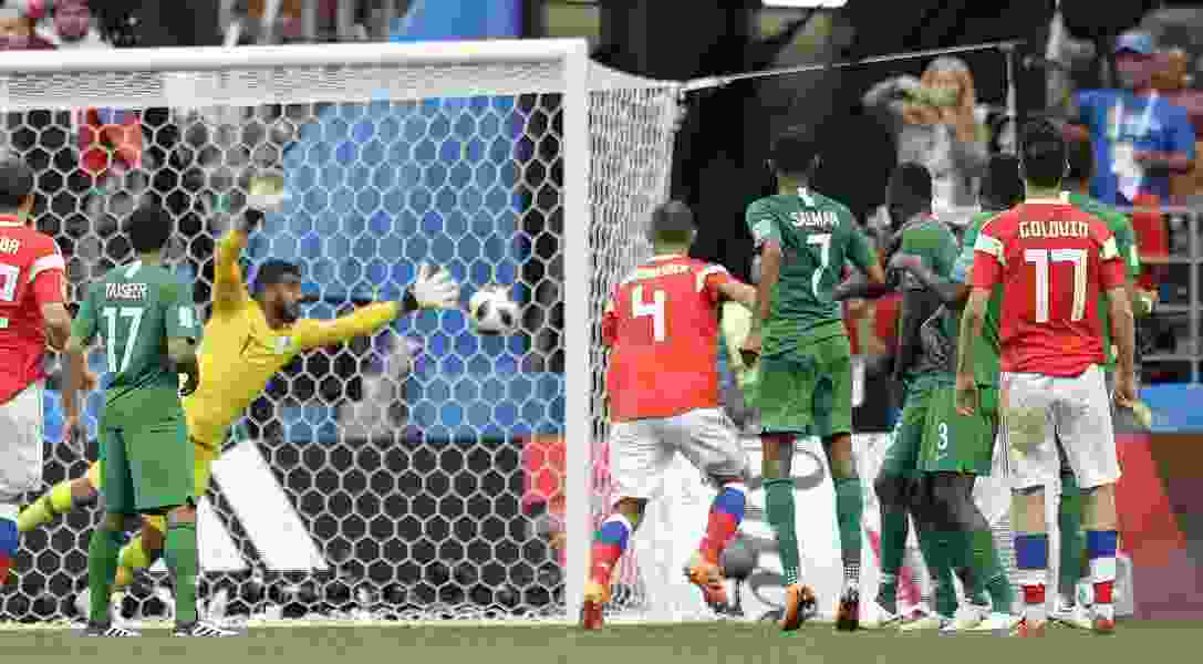 Putin and Russia get first win at the World Cup, routing Saudi Arabia