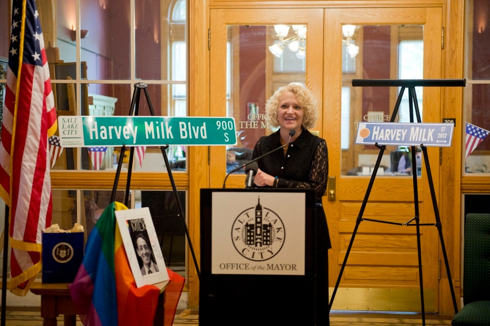 (Rachel Molenda | The Salt Lake Tribune) Salt Lake City Mayor Jackie Biskupski speaks at a ceremony where she was given the Harvey Milk Civil Rights Award by the International Imperial Court at the Salt Lake City-County Building in Salt Lake City, Utah, on Friday, May 25, 2018.