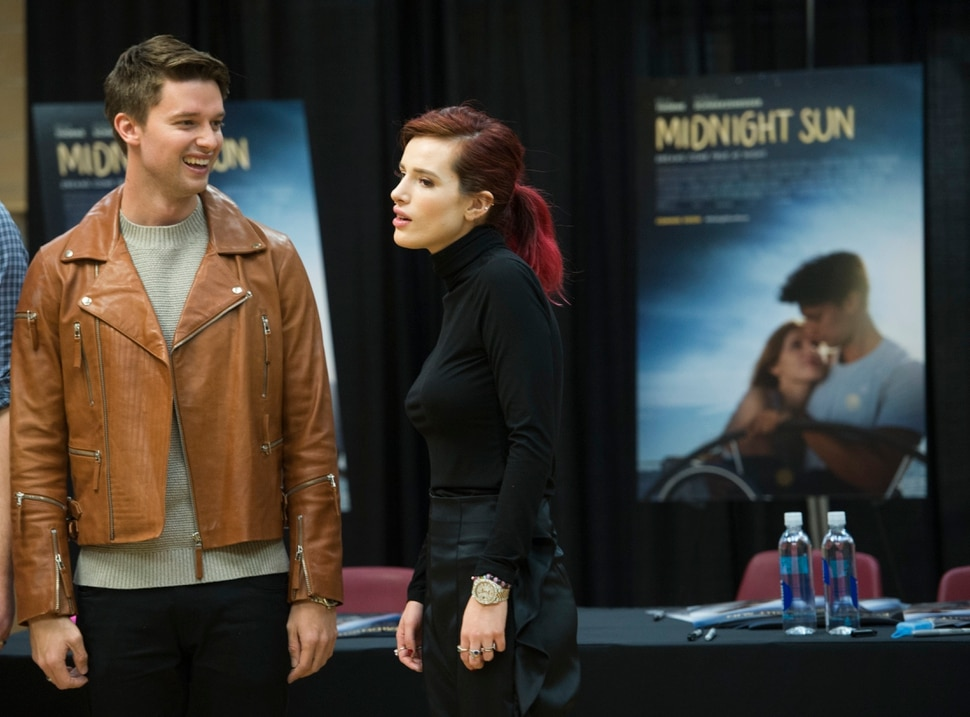 (Leah Hogsten | The Salt Lake Tribune) Actors Bella Thorne and Patrick Schwarzenegger autographed posters and met fans to promote their upcoming young-adult romance, Midnight Sun, during a stop at the Fashion Place Mall in Murray on Tuesday, March 6, 2018. The movie opens March 23.