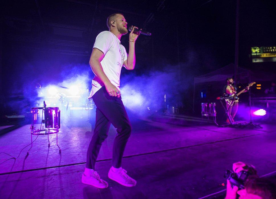 (Rick Egan/The Salt Lake Tribune) In this August 26, 2017, file photo, Imagine Dragons lead singer Dan Reynolds performs at the LoveLoud Festival at Utah Valley University in Provo, Utah.