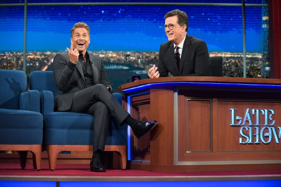 "(Scott Kowalchyk/CBS) Rob Lowe appears on ""The Late Show with Stephen Colbert."""
