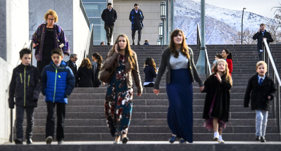 (Steve Griffin   The Salt Lake Tribune) Mourners leave the Conference Center after paying their last respects to LDS Church President Thomas S. Monson during a public viewing in Salt Lake City Thursday January 11, 2018.