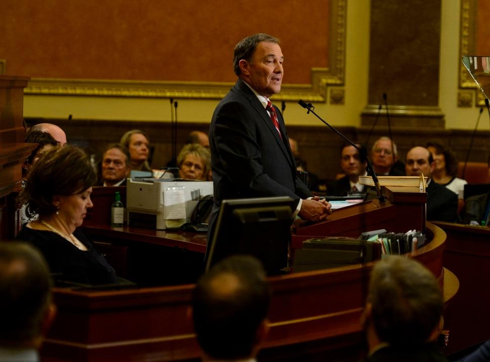 (Steve Griffin | The Salt Lake Tribune) Gov. Gary Herbert gives his State of the State address in the Utah House of Representatives in Salt Lake City Wednesday January 24, 2018.