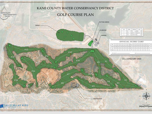 (Rendering courtesy of Kane County Water Conservancy District) A rendering produced by architect David McLay Kidd provides a preliminary design for a proposed 18-hole luxury golf course that retired Utah lawmaker Mike Noel is looking to build outside Kanab.