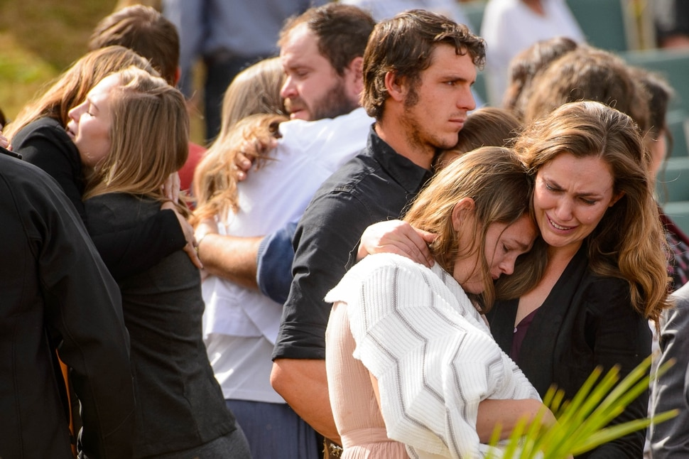 (Trent Nelson | The Salt Lake Tribune) Family mourns at the funeral for Dawna Langford and two of her children, Trevor and Rogan, in La Mora, Sonora on Thursday. Nov. 7, 2019. Three women and six of their children, all members of the extended LeBaron family, died when they were gunned down in an attack while traveling along Mexico's Chihuahua and Sonora state border on Monday, Nov. 4, 2019.