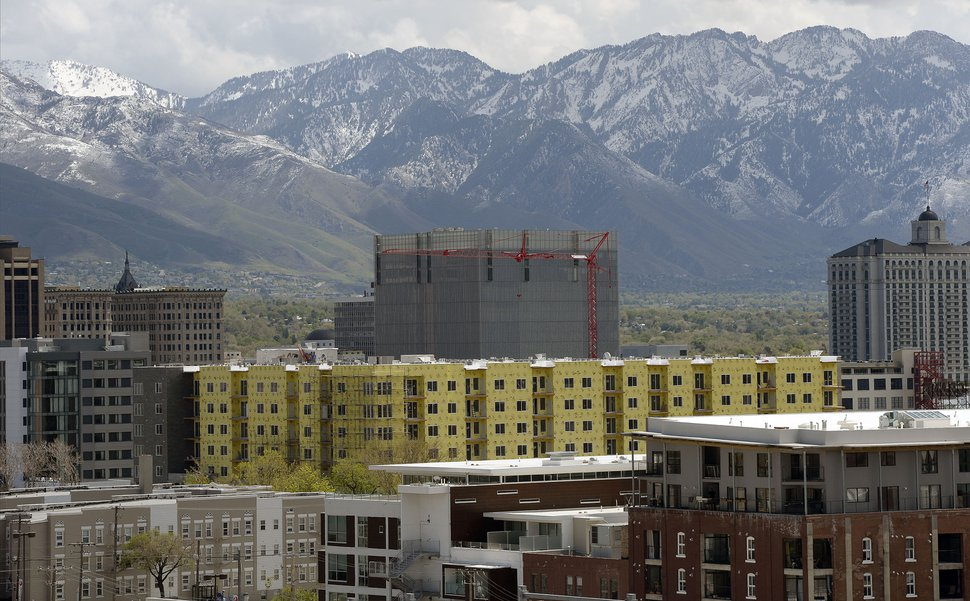 (Al Hartmann | The Salt Lake Tribune) A view of Salt Lake City's changing skyline looking eastward on Tuesday, May 1, 2018. A Housing Gap Coalition formed by the Salt Lake Chamber of Commerce is going to encourage local government officials to adopt more flexible zoning policies and to cut regulatory fees to stimulate the development of more types of housing, particularly units affordable for lower income people, in all parts of the Salt Lake Valley.