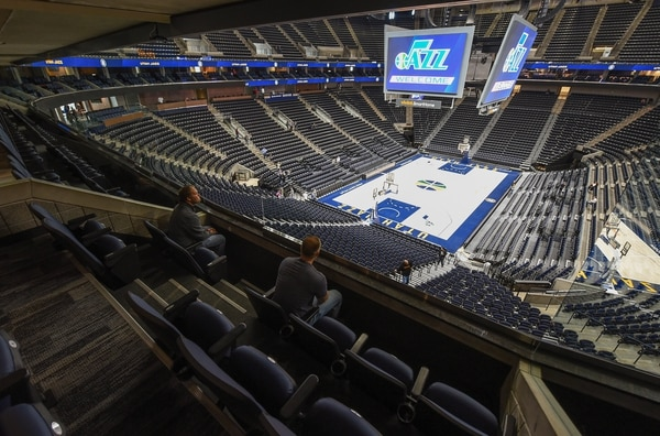 (Francisco Kjolseth | The Salt Lake Tribune) The Jazz unveil renovations for the arena, starting with the J-Note statue and then offering self-guided tours of the venue on Tuesday, Sept. 26, 2017. The arena features new seats, new concourse areas, new anchor restaurants and open spaces for more social experiences at Jazz games and events.