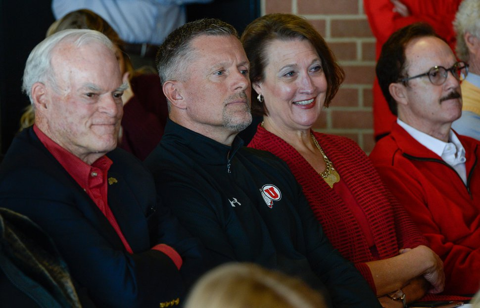 (Francisco Kjolseth | The Salt Lake Tribune) Philanthropist Spencer F. Eccles, University of Utah football coach Kyle Whittingham, U. President Ruth Watkins and philanthropist Tom McCarthey, from left, attend the retirement announcement of Athletic Director Chris Hill after 31years. Joined by his wife, Kathy, and their kids and grandkids at the Jon M. Huntsman Center on campus on Monday, March 26, 2018, Hill is the longest actively tenured athletic director at the same school in the NCAA FBS.