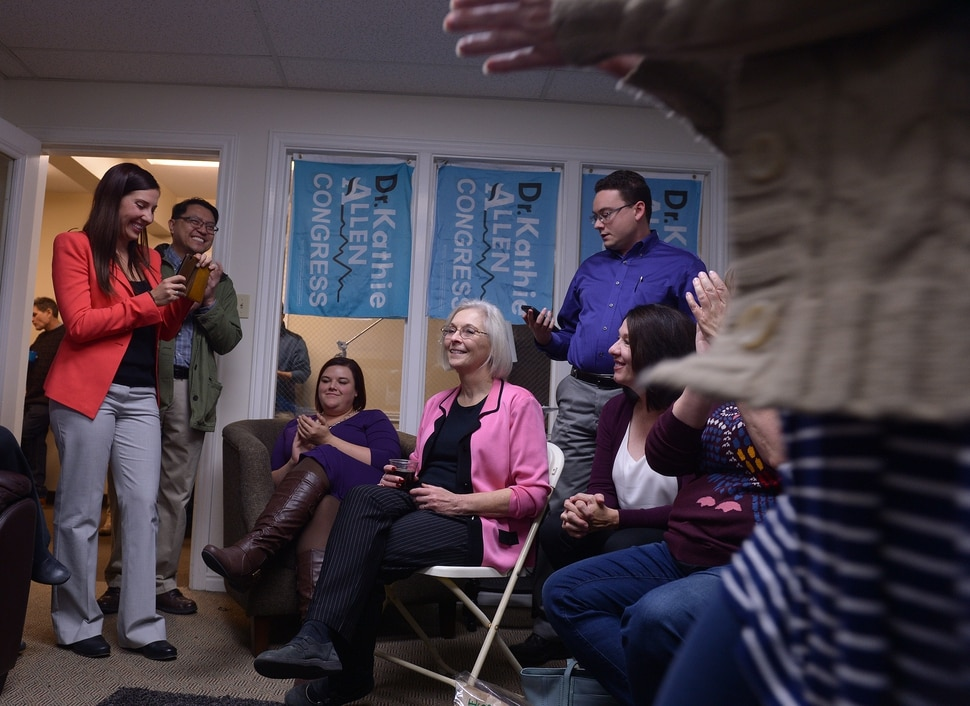 (Leah Hogsten | The Salt Lake Tribune) I'm going to go back to gerrymandering work, said Utah's 3rd Congressional District Democratic candidate Kathie Allen after conceding the race, drawing laughter and applause at her election night party headquarters November 7, 2017 in Holladay. Allen faced faced Republican Provo Mayor John Curtis and the new United Utah Party's Jim Bennett, as well as a handful of independent and third-party candidates in Tuesday, Nov. 7 special election after former Rep. Jason Chaffetz vacated the seat.