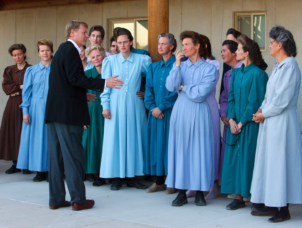 Trent Nelson | The Salt Lake Tribune Eldorado - Attorney Rod Parker advises a group of FLDS women as they prepare to speak to the media after being separated from their children Monday, April 14, 2008, at the YFZ