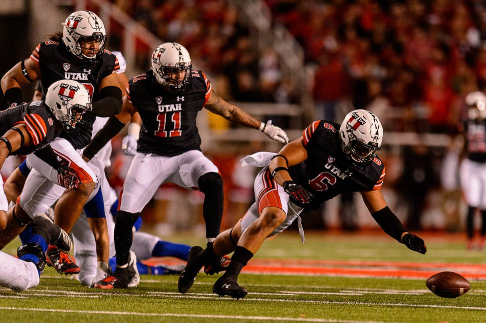 (Trent Nelson | The Salt Lake Tribune) Utah's Bradlee Anae chases down a fumble as the Utah Utes host the San Jose State Spartans, NCAA football at Rice-Eccles Stadium in Salt Lake City, Saturday September 16, 2017.